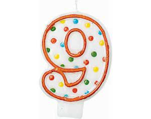 Orange Outline Number 9 Birthday Candle