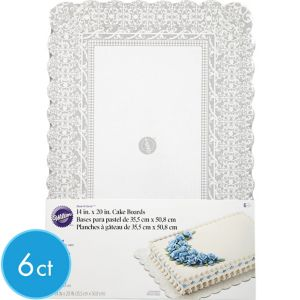 Silver Damask Cake Boards 6ct