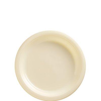 Vanilla Plastic Dessert Plates 20ct