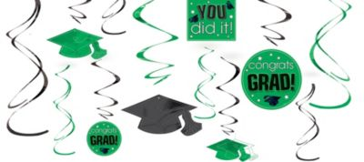 Green Graduation Swirl Decorations 12ct