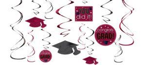 Berry Graduation Swirl Decorations 12ct