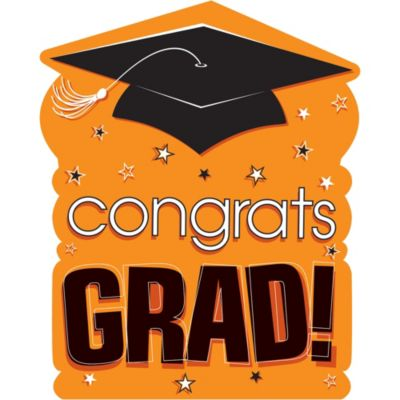 Orange Congrats Grad Cutout