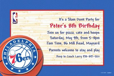 Philadelphia 76ers Custom Invitation