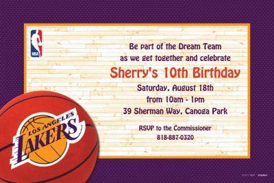 1b214322f Custom Los Angeles Lakers Invitations