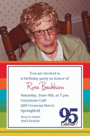 Custom A Year to Celebrate 95th Photo Invitations