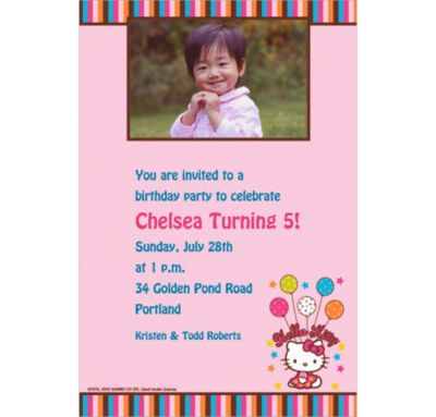 Hello Kitty Balloon Custom Photo Invitation