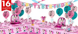 1st Birthday Minnie Mouse Deluxe Party Kit for 16 Guests