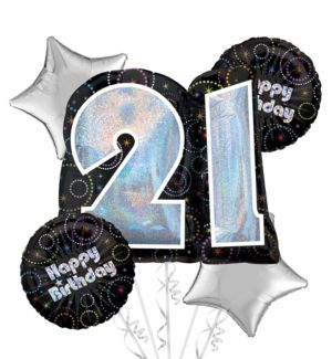21st Birthday Balloon Bouquet 5pc - Time to Party