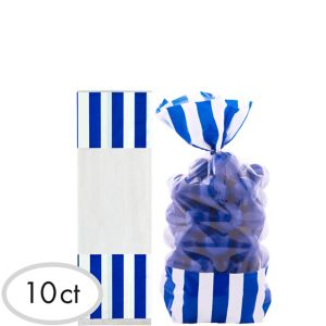 Royal Blue Striped Treat Bags 10ct