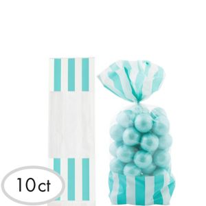 Robin's Egg Blue Striped Treat Bags 10ct