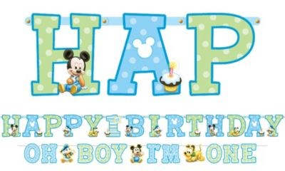 Mickey Mouse 1st Birthday Banners 2ct