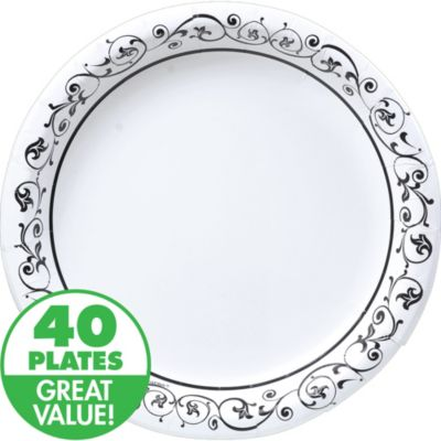 Fancy Scroll Heavy Duty Dinner Plates 40ct