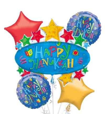 Hanukkah Balloon Bouquet 5pc - Giant Hanukkah Fun