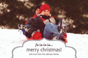 Custom Fancy Frame Silver Christmas Photo Card