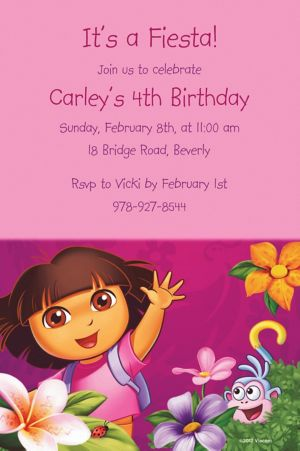 Custom Dora Flower Fun Invitations