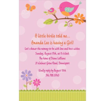Custom Tweet Baby Girl Baby Shower Invitations