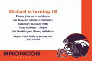 Custom Denver Broncos Invitations
