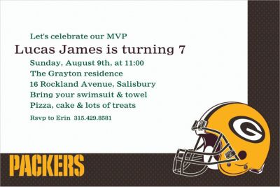 Green Bay Packers Custom Invitation