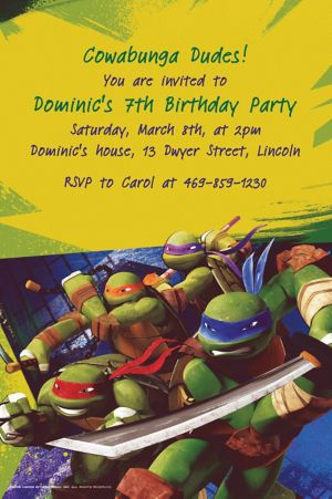 Custom Teenage Mutant Ninja Turtles Invitations