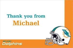 Custom Miami Dolphins Thank You Notes