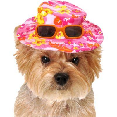 Pink Hawaiian Dog Hat