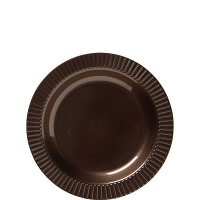 Chocolate Brown Premium Plastic Dessert Plates 32ct