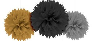 Black, Gold & Silver Fluffy Decorations 3ct