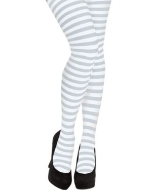 Adult White Striped Tights