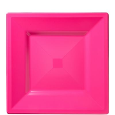 Bright Pink Premium Plastic Square Lunch Plates 10ct