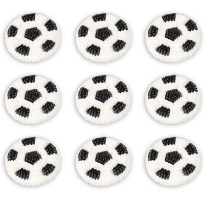Soccer Ball Icing Decorations 9ct