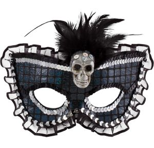 Prismatic Skull Feather Masquerade Mask