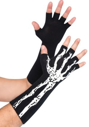 Adult Glow in the Dark Skeleton Fingerless Gloves