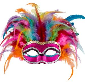 Rainbow Feather Masquerade Mask