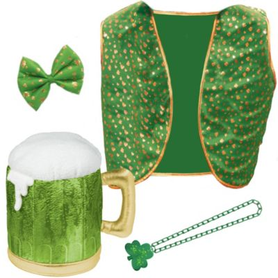 Adult St. Patricks White Partysuit Accessories Set