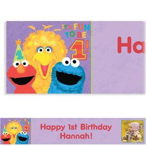 Custom Sesame 1st Birthday Photo Banner 6ft