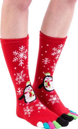 Holiday Penguin Toe Socks