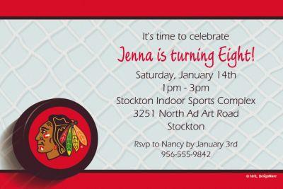 Custom Chicago Blackhawks Invitations