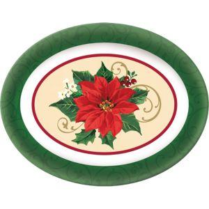 Oval Poinsettia Platter