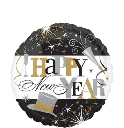 Happy New Year Balloon - Elegant Celebration