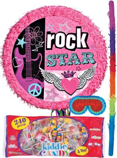 Pull String Rocker Girl Drum Pinata Kit