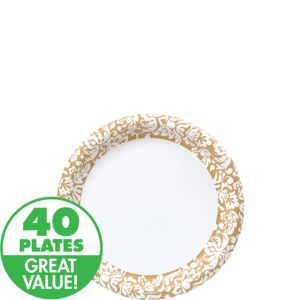 Gold Damask Heavy Duty Appetizer Plates 40ct