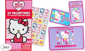 Hello Kitty Valentine Exchange Cards with Tattoos 34ct