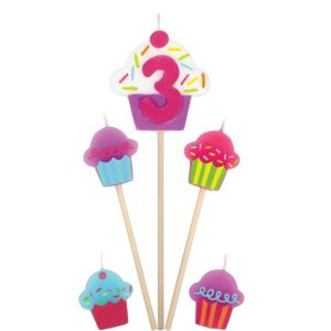 Number 3 Cupcake Birthday Toothpick Candles 5ct