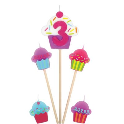 Number 3 & Cupcake Candle Picks 5ct