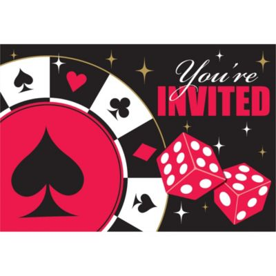 Place Your Bets Casino Invitations 8ct