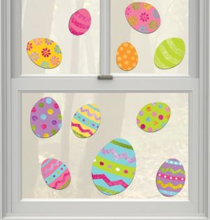 Glitter Vinyl Easter Window Decals 11ct