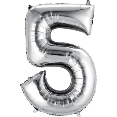 Number 5 Balloon - Silver