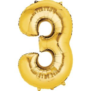 Number 3 Balloon - Gold