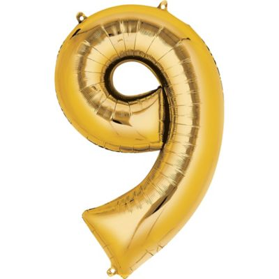 Number 9 Balloon - Gold