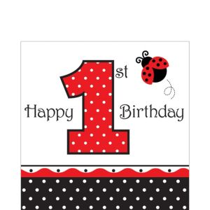 1st Birthday Fancy Ladybug Lunch Napkins 16ct